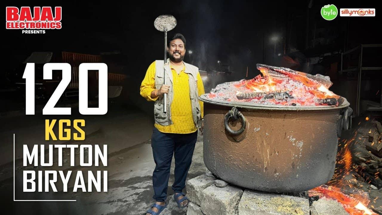 4 AM 120 Kgs Mutton Biryani Making   Akshay Dum Biryani   Mutton Biryani   Street Byte   Silly Monks