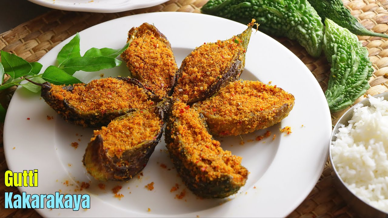 గుత్తి కాకరకాయ | Stuffed Bitter Gourd curry Recipe by Vismai Food in Telugu || Stuffed Karela